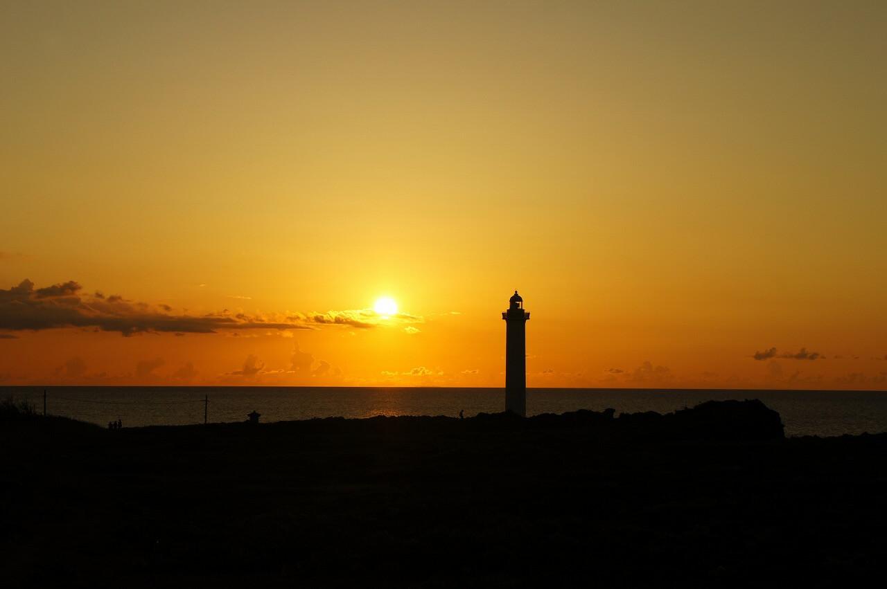 沖縄 残波岬からの夕日